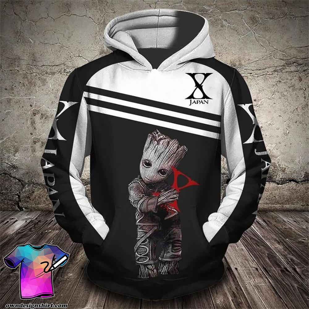 Groot and x japan rock band full printing shirt