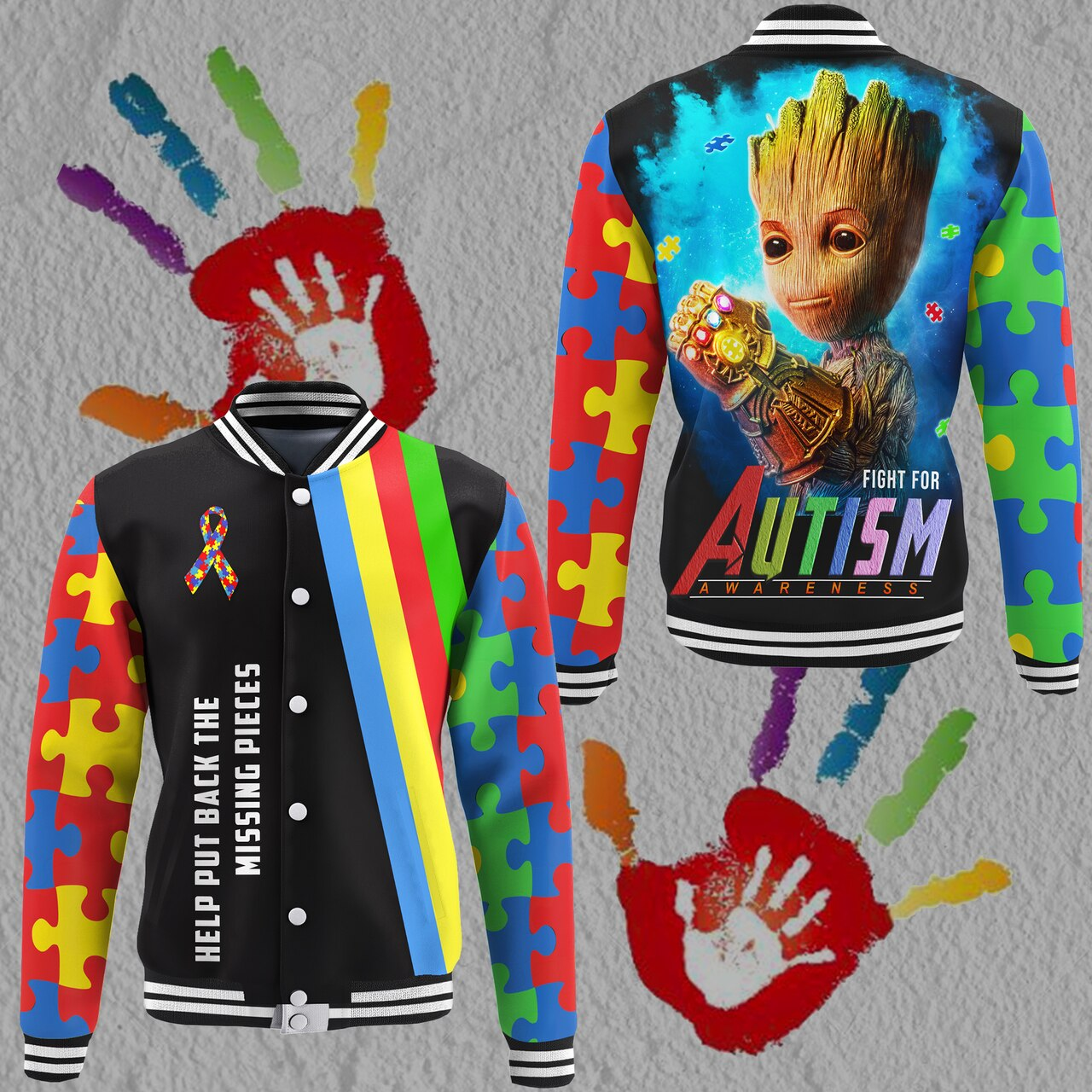 Groot fight for autism awareness full printing baseball jacket