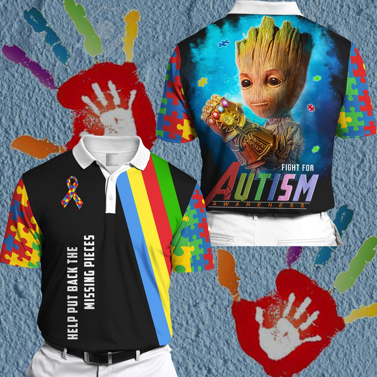 Groot fight for autism awareness full printing polo