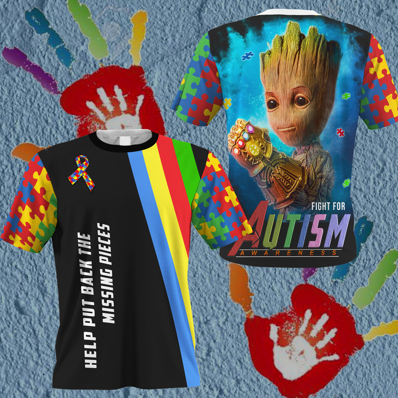 Groot fight for autism awareness full printing tshirt