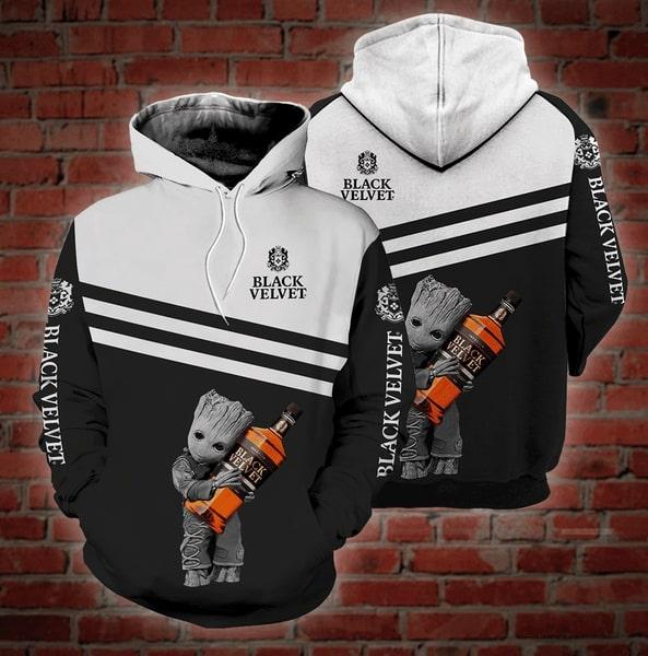 Groot hold black velvet whisky full printing hoodie 2