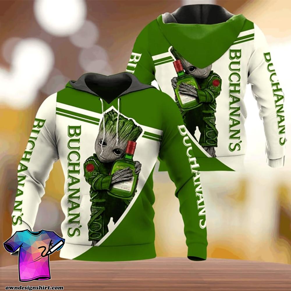 Groot hold james buchanan's all over printed shirt