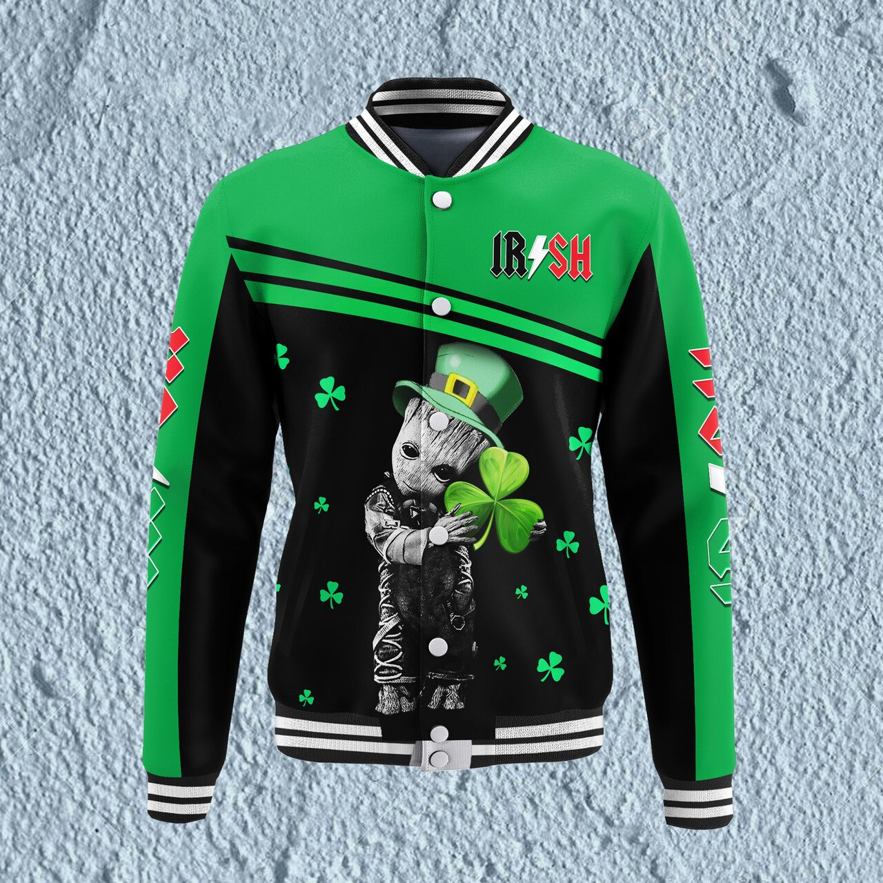 Groot hold shamrock saint patrick's day full printing baseball jacket