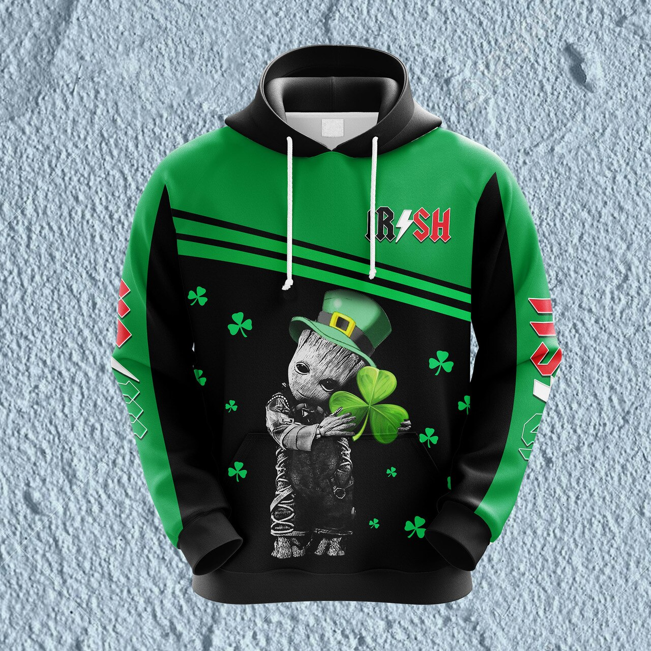 Groot hold shamrock saint patrick's day full printing hoodie