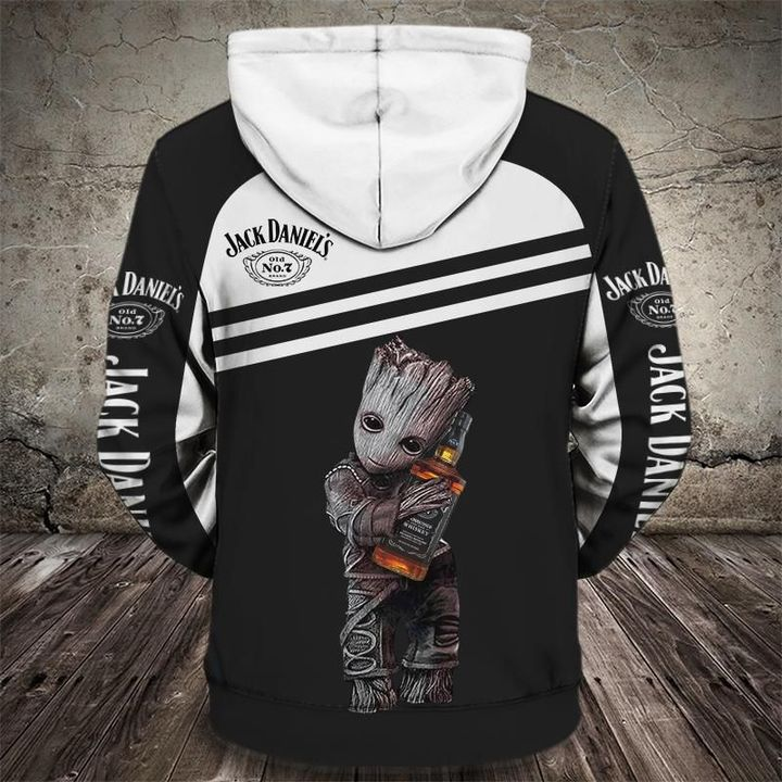 Groot holds jack daniel's full printing hoodie 1