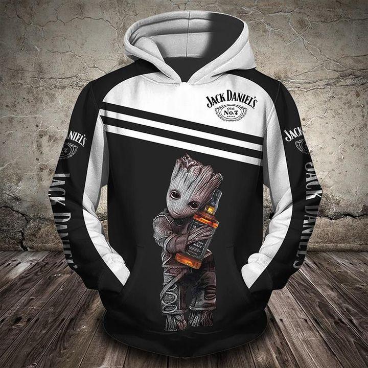 Groot holds jack daniel's full printing hoodie 2