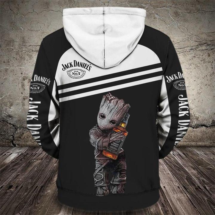 Groot holds jack daniel's full printing hoodie 3