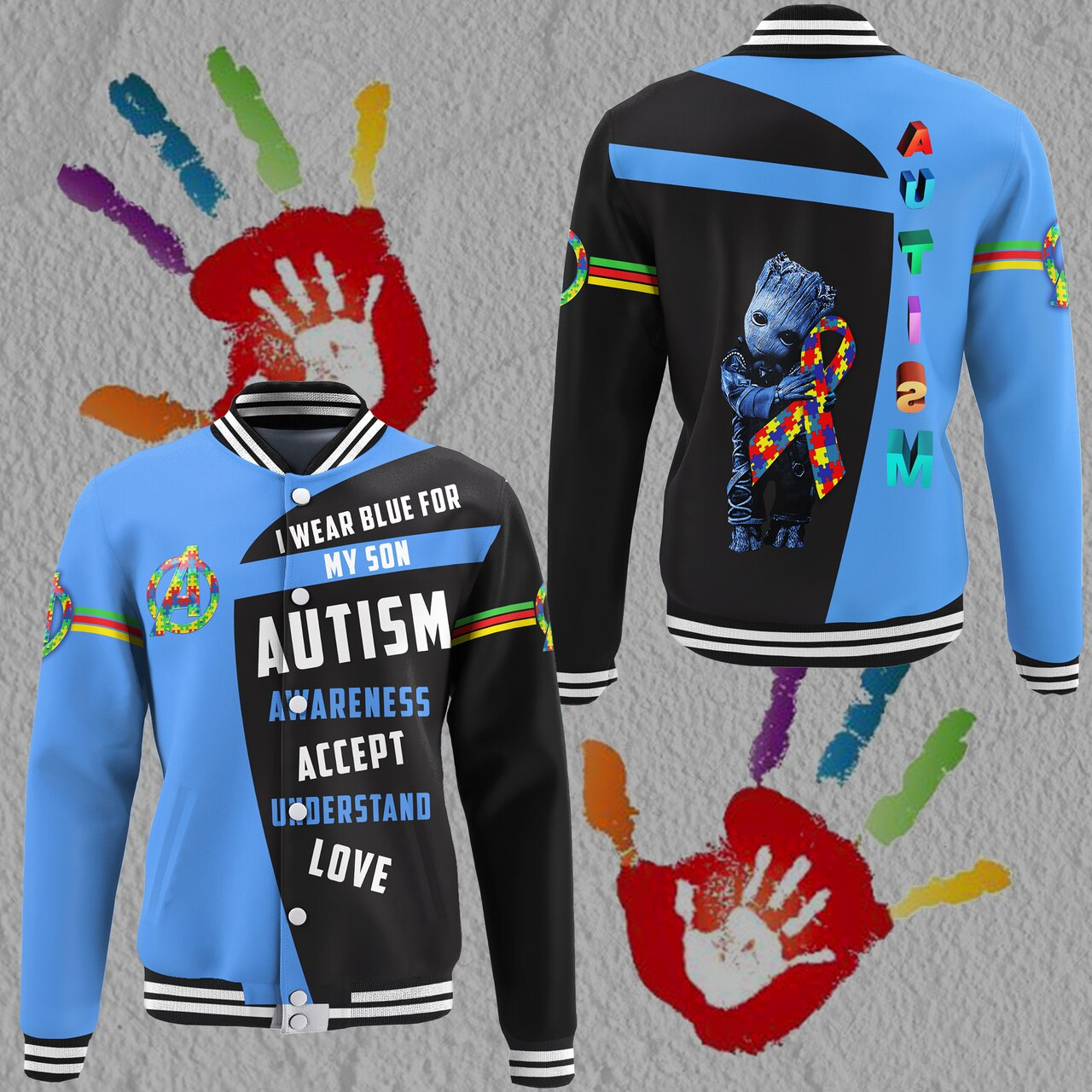 Groot i wear blue for my son autism awareness all over print baseball jacket