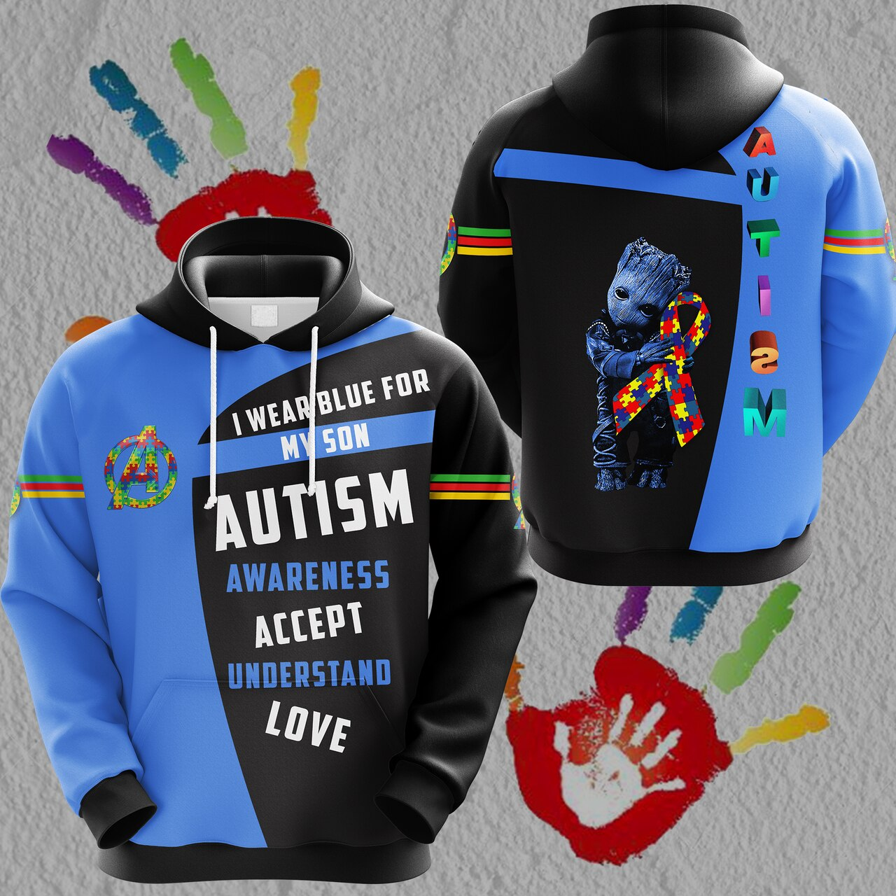 Groot i wear blue for my son autism awareness all over print hoodie