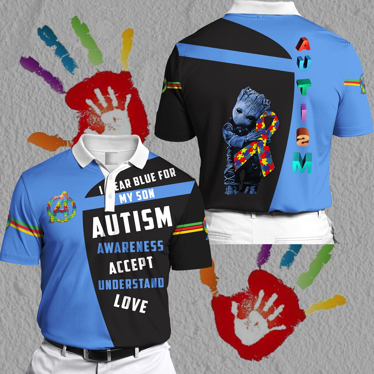Groot i wear blue for my son autism awareness all over print polo