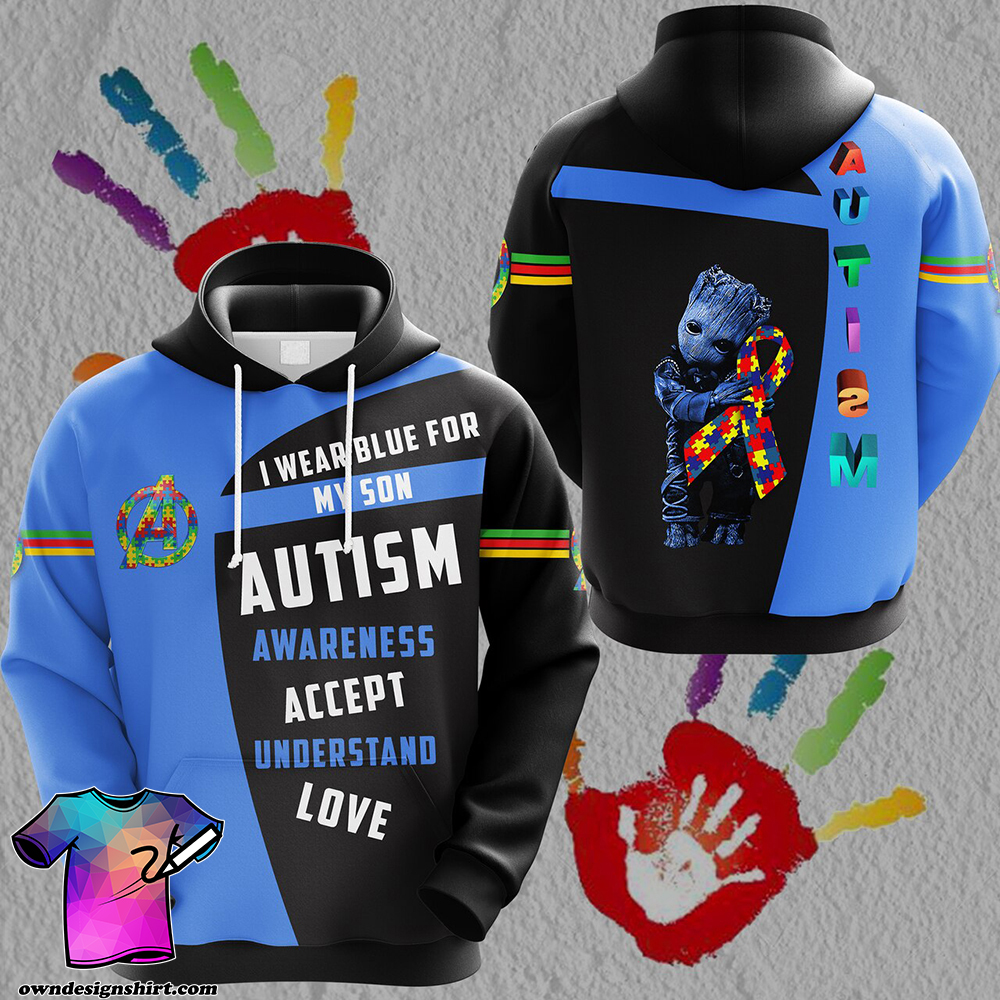Groot i wear blue for my son autism awareness all over print shirt