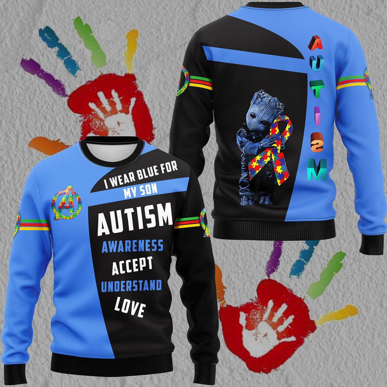 Groot i wear blue for my son autism awareness all over print sweatshirt