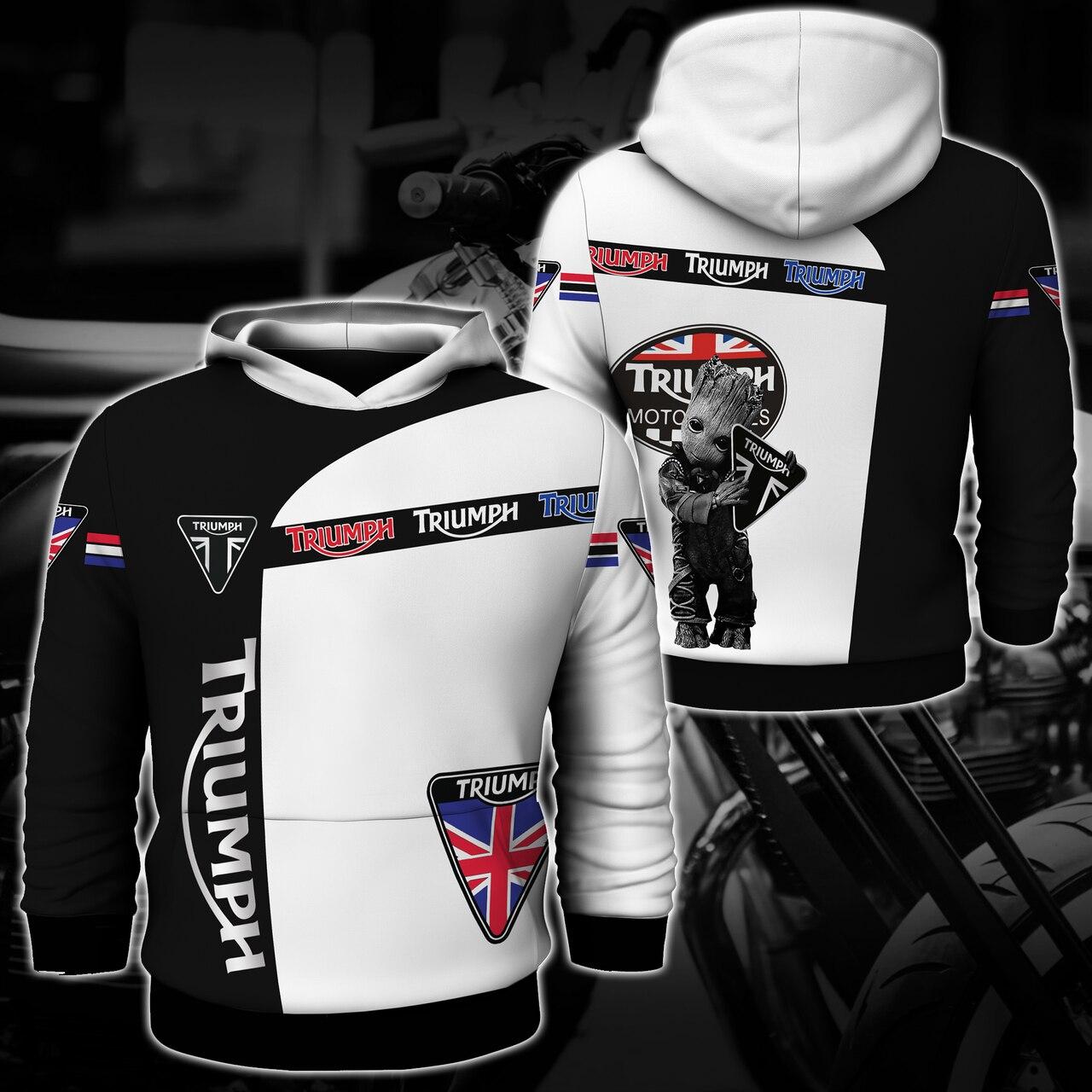 Groot triumph motor logo full printing hoodie