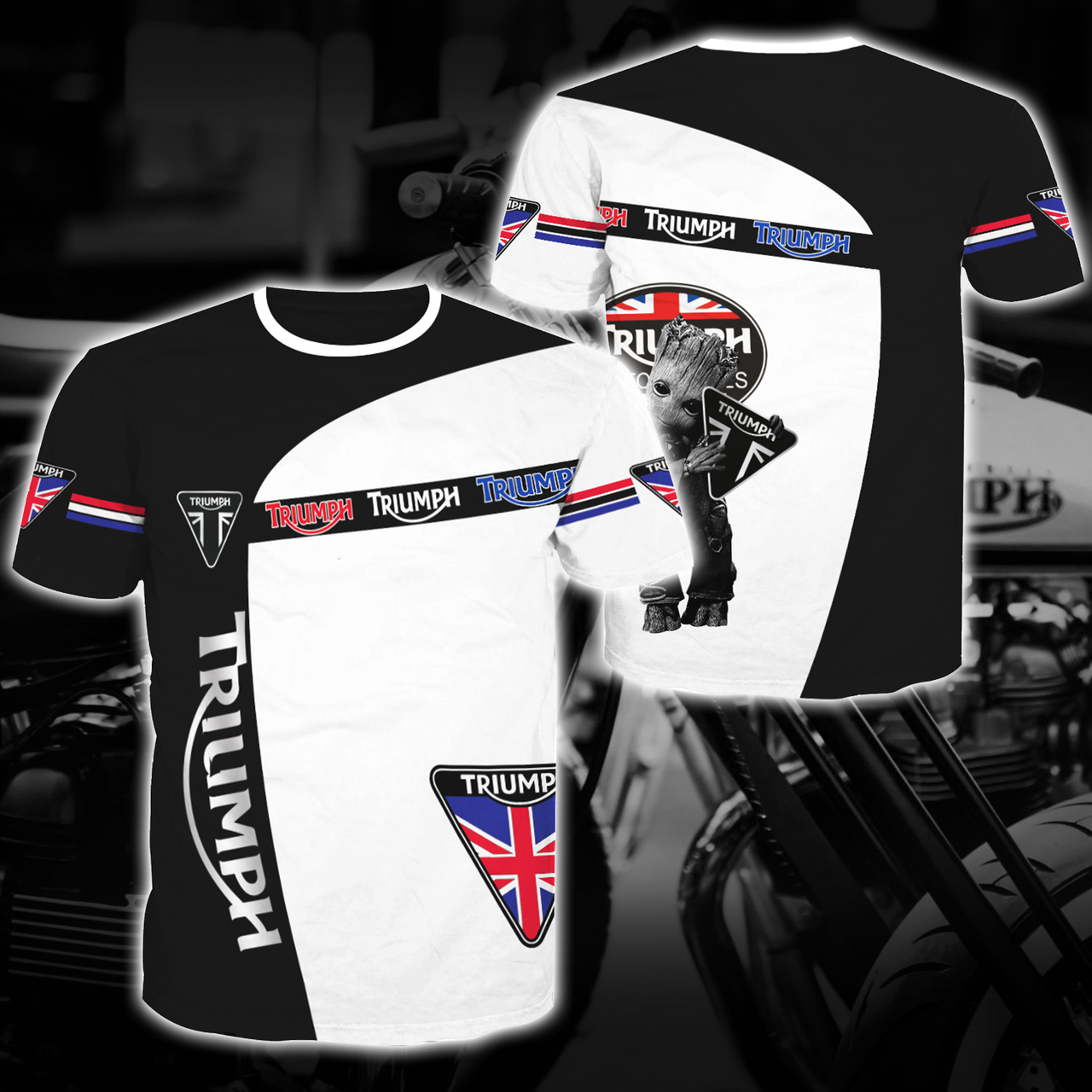 Groot triumph motor logo full printing tshirt