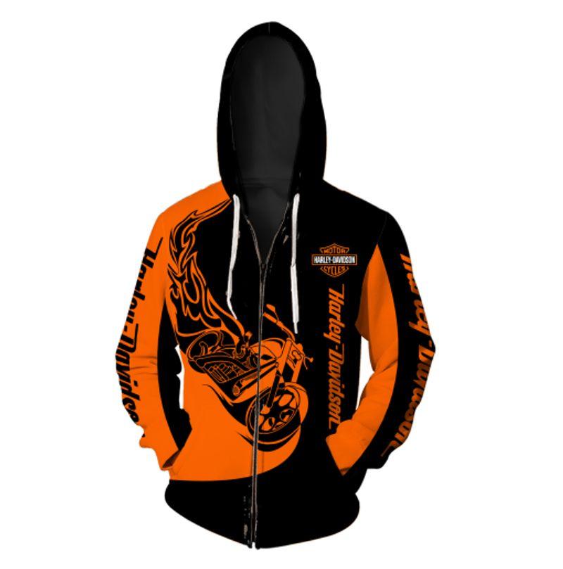 Harley-davidson motorcycles 3d full printing zip hoodie
