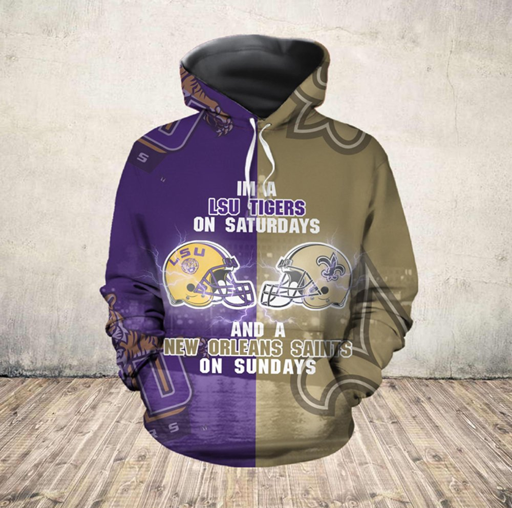 I'm a lsu tigers on saturdays and new orleans saints on sundays all over printed hoodie