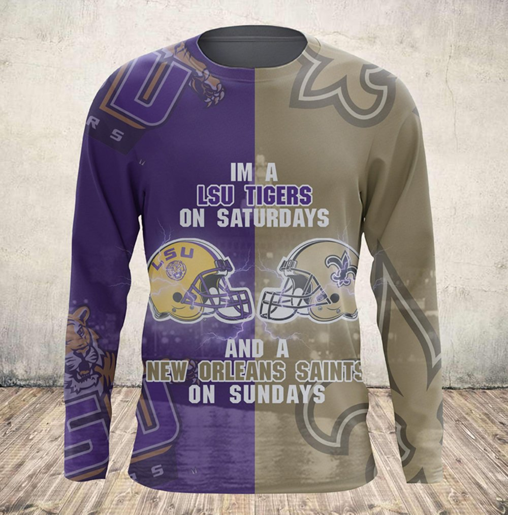 I'm a lsu tigers on saturdays and new orleans saints on sundays all over printed sweatshirt
