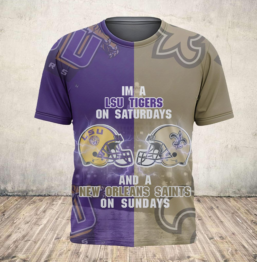 I'm a lsu tigers on saturdays and new orleans saints on sundays all over printed tshirt