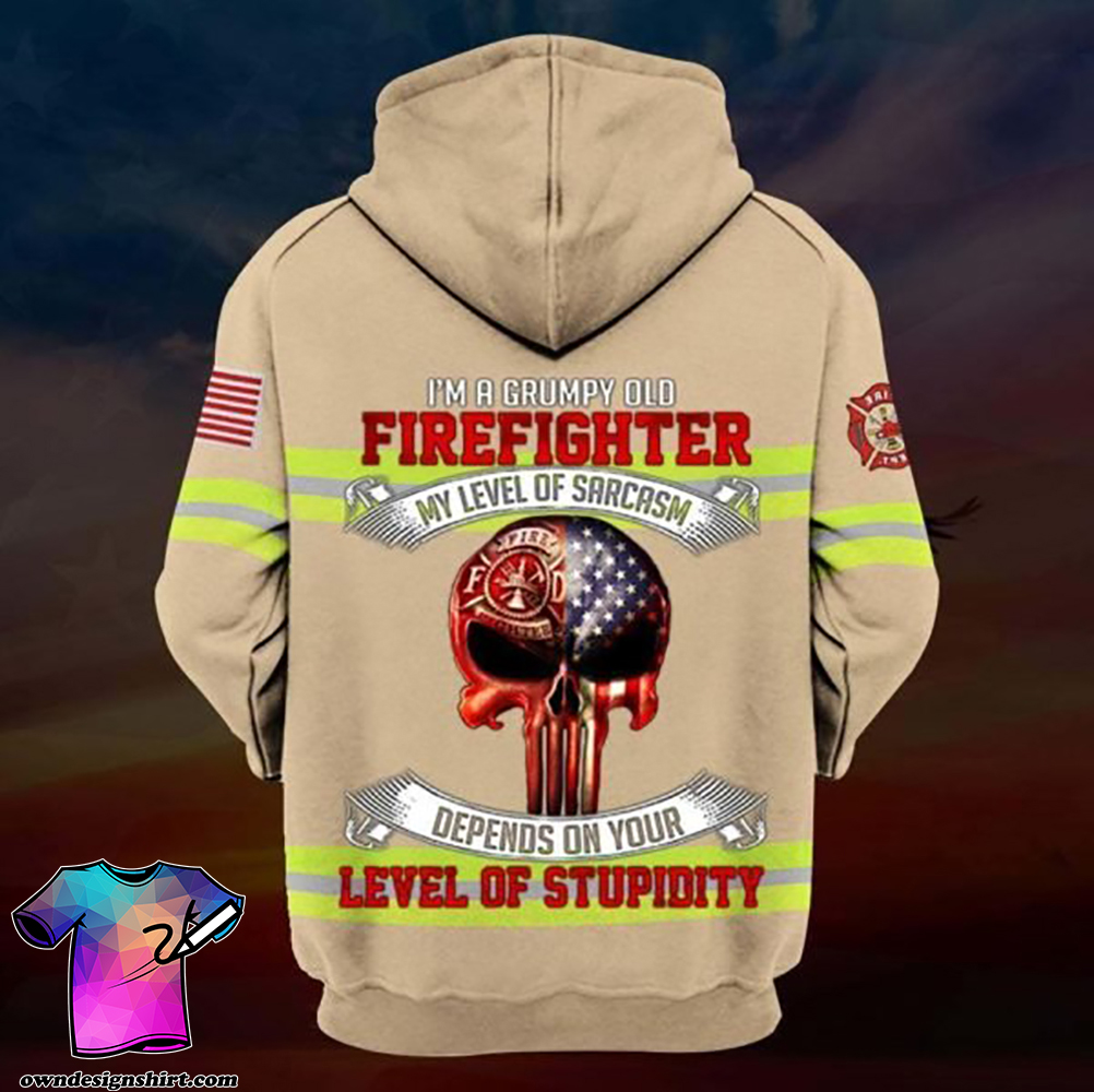 I'm a grumpy old firefighter my level of sarcasm skull full printing shirt