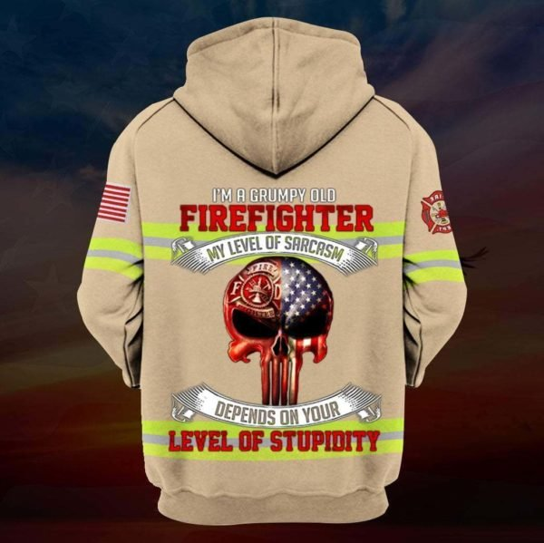 I'm a grumpy old firefighter my level of sarcasm skull full printing zip hoodie