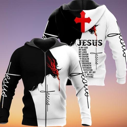 Jesus Is my god my king my lord full printing zip hoodie