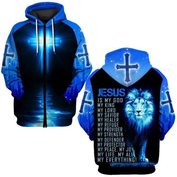 Jesus is a God my king my everything full printing zip hoodie