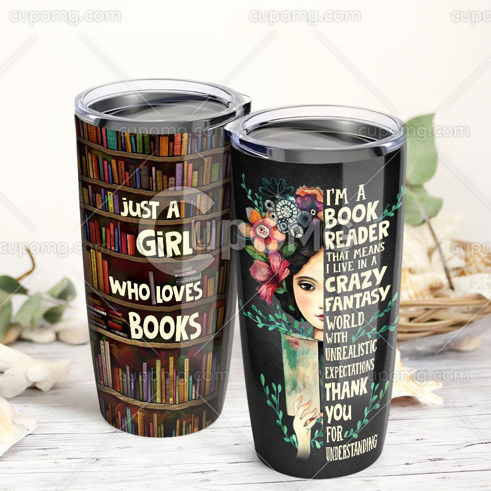 Just a girl who loves books all over print tumbler 2