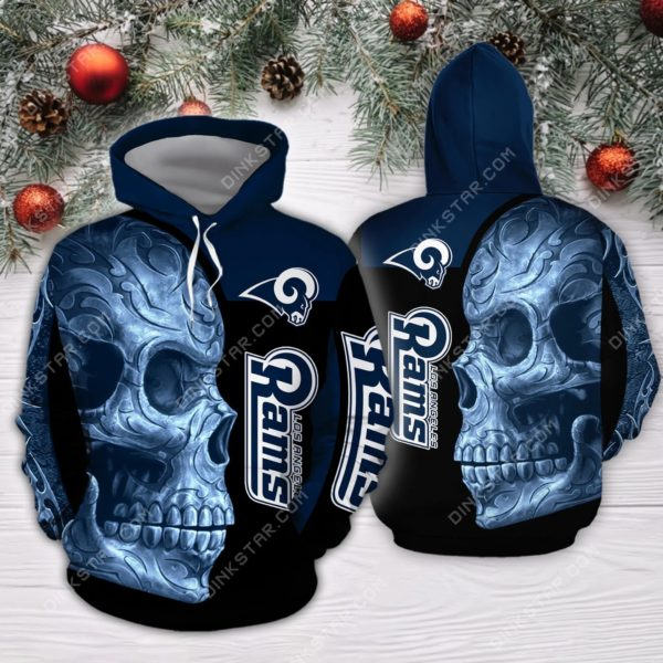 Los angeles rams sugar skull full printing hoodie