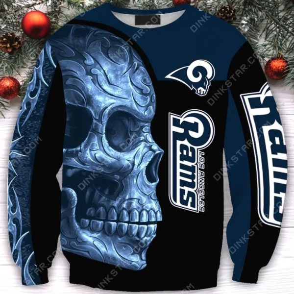 Los angeles rams sugar skull full printing sweatshirt