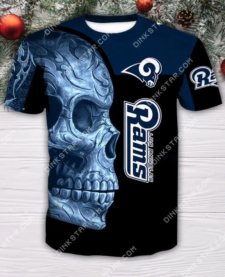 Los angeles rams sugar skull full printing tshirt