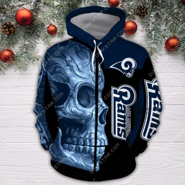 Los angeles rams sugar skull full printing zip hoodie