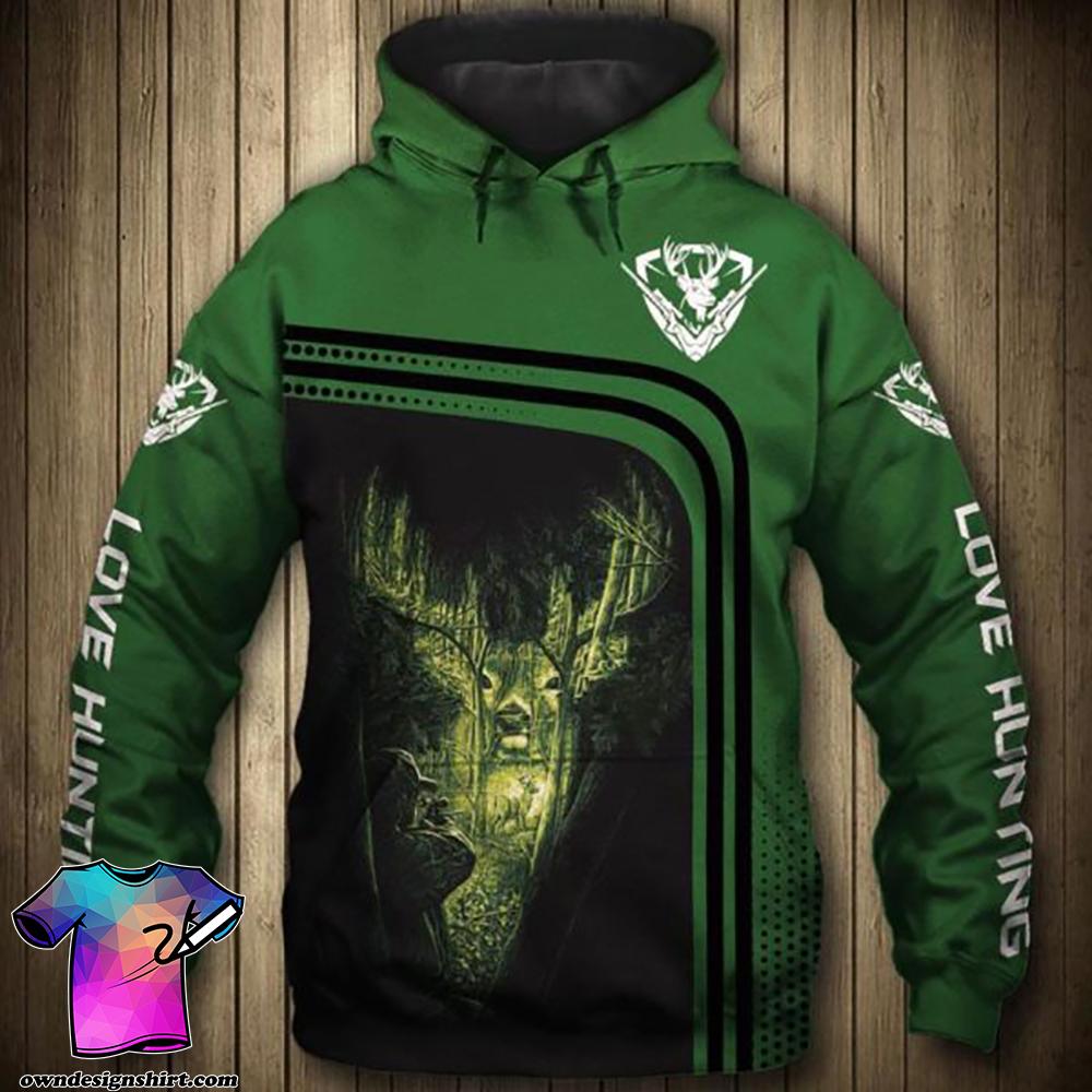 Love hunting deer full printing shirt