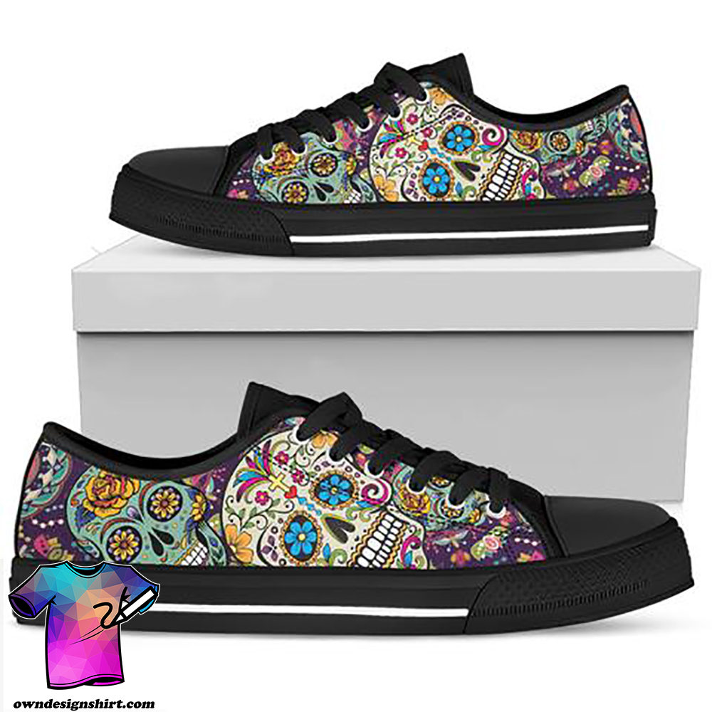 Mexican sugar skull low top shoes