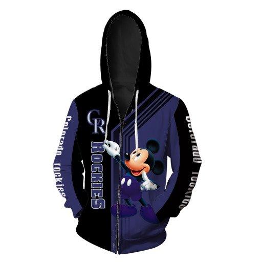 Mickey mouse colorado rockies mlb all over print zip hoodie