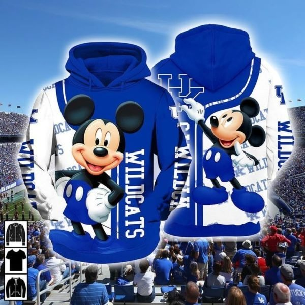 Mickey mouse kentucky wildcats all over printed hoodie