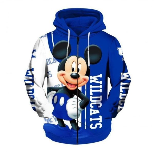 Mickey mouse kentucky wildcats all over printed zip hoodie