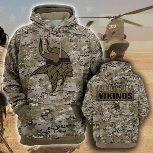 Minnesota vikings camo full prinating hoodie