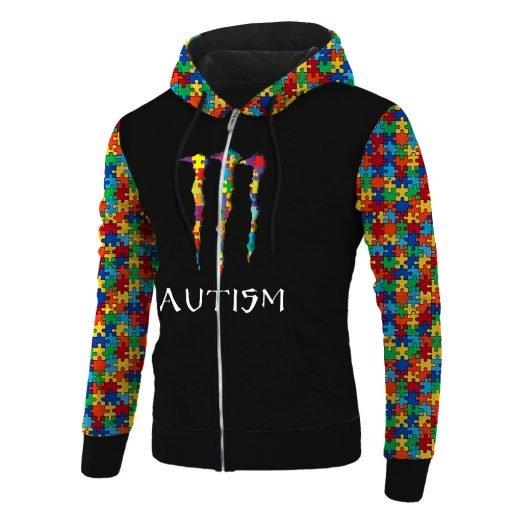Monster energy autism awareness all over printed zip hoodie