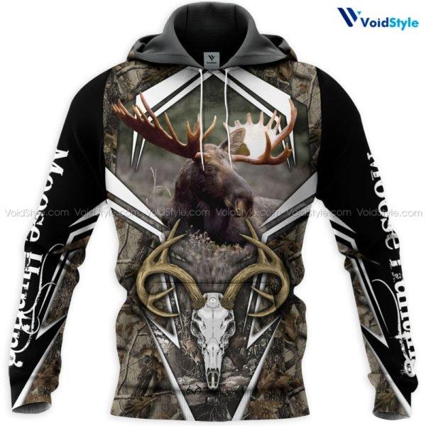 Moose hunting hunt season 3d all over printed hoodie