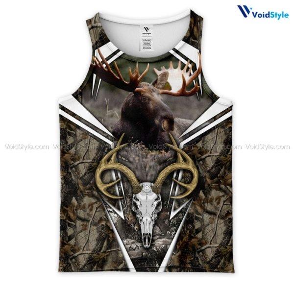 Moose hunting hunt season 3d all over printed tank top