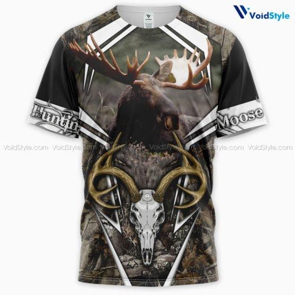 Moose hunting hunt season 3d all over printed tshirt