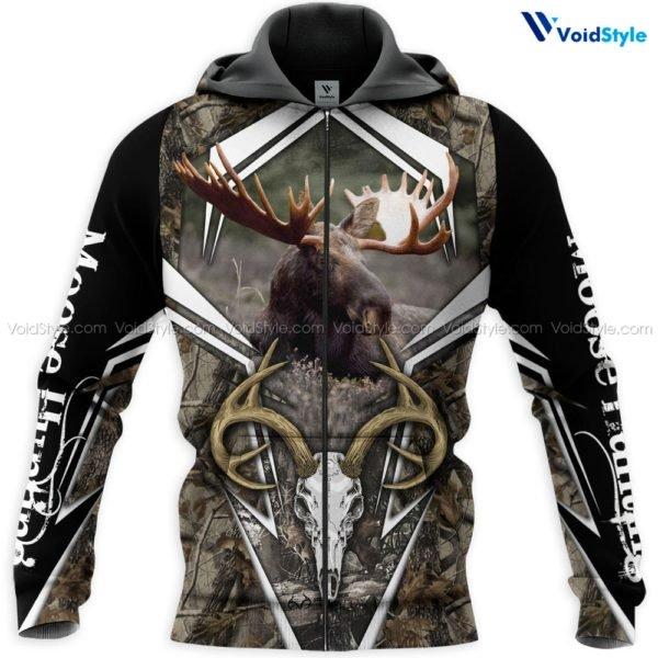 Moose hunting hunt season 3d all over printed zip hoodie