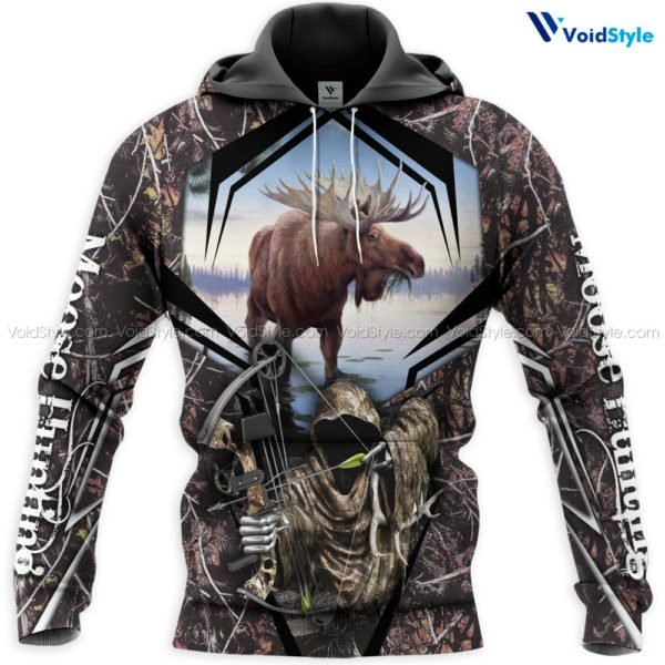 Moose hunting hunt season all over print hoodie