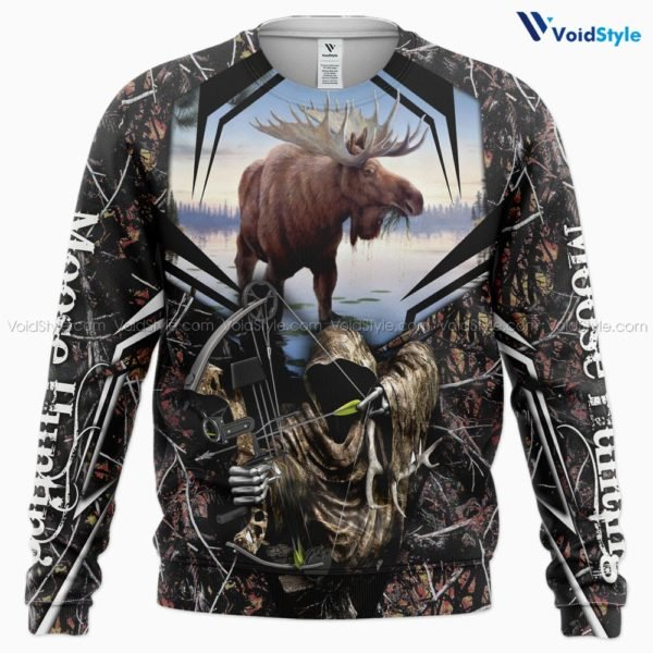 Moose hunting hunt season all over print sweatshirt