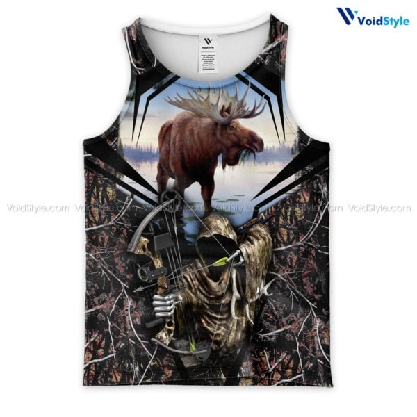 Moose hunting hunt season all over print tank top