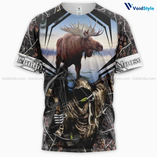 Moose hunting hunt season all over print tshirt