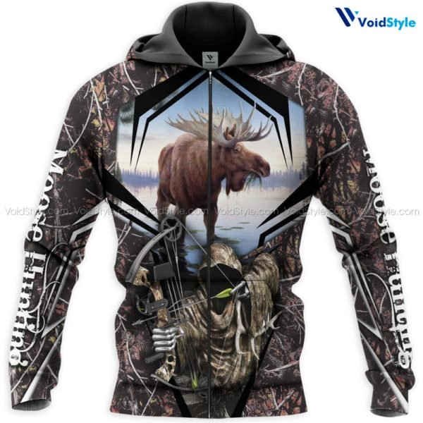 Moose hunting hunt season all over print zip hoodie