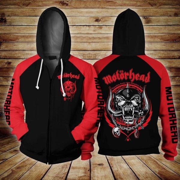 Motorhead logo all over printed zip hoodie