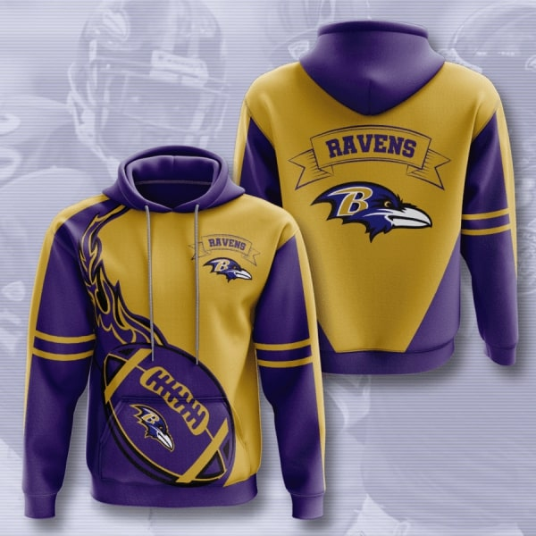 NFL football baltimore ravens all over printed hoodie 2