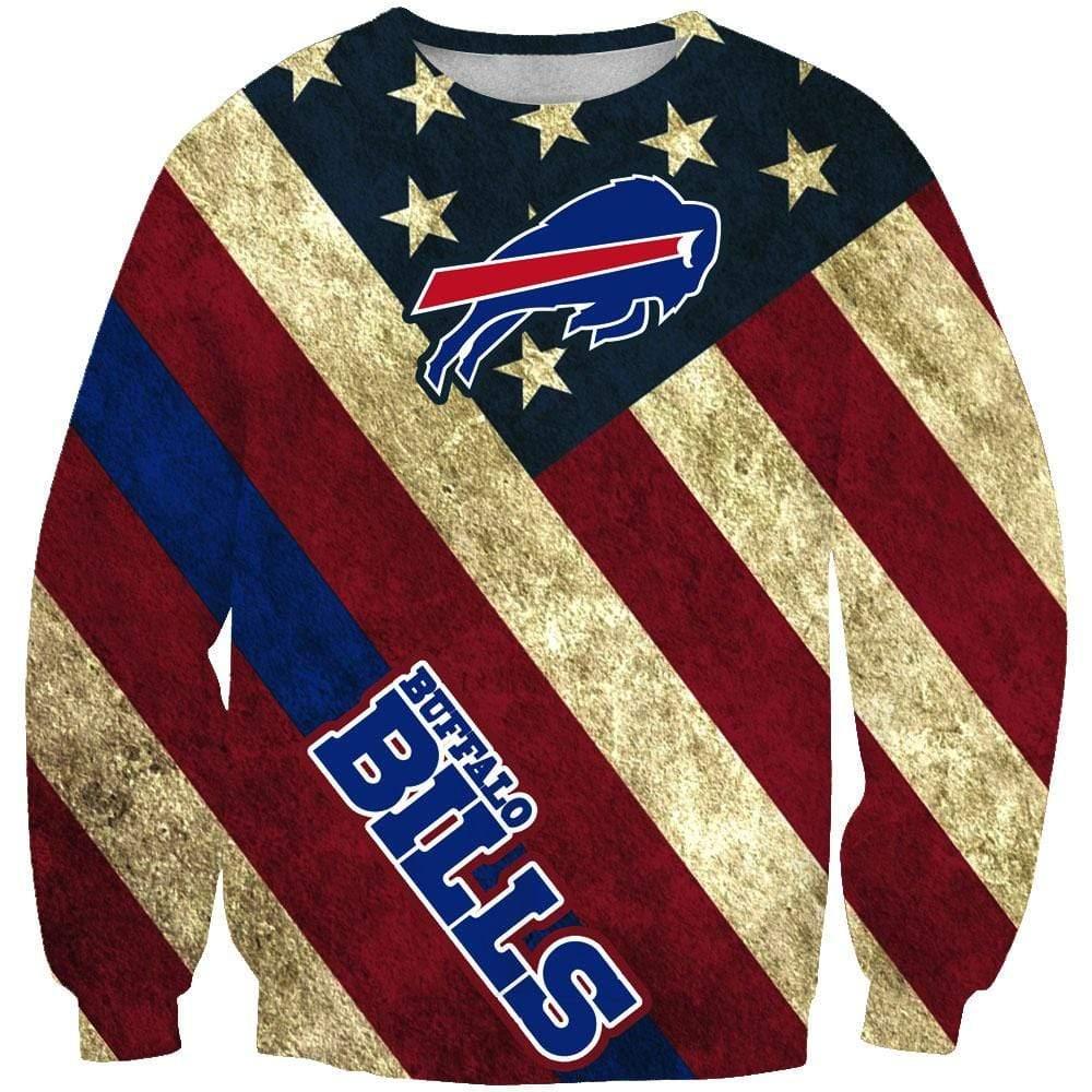 NFL football buffalo bills american flag full printing sweatshirt 2